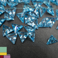 blue synthetic diamond gemstone fat triangle shaped loose cubic zirconia bead