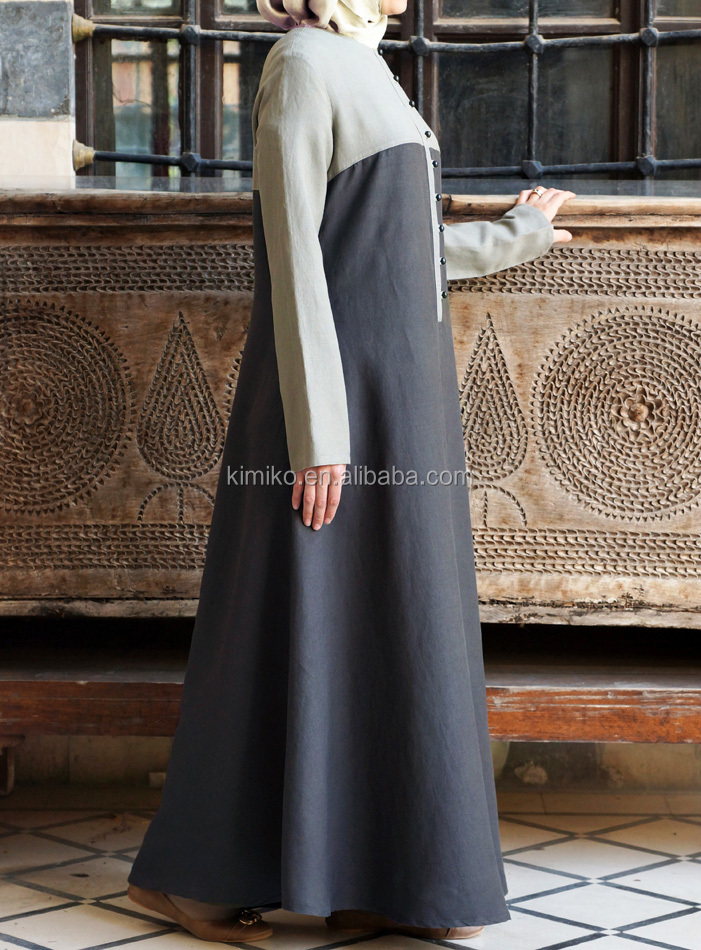 2018 Islamic Women Clothing Fashion Contrast Color Muslim Maxi Dress