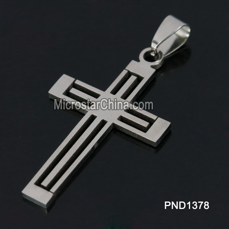 202L 38*25*2mm Wholesale Hot Silver Cross Stainless Steel Pendant For Gifts