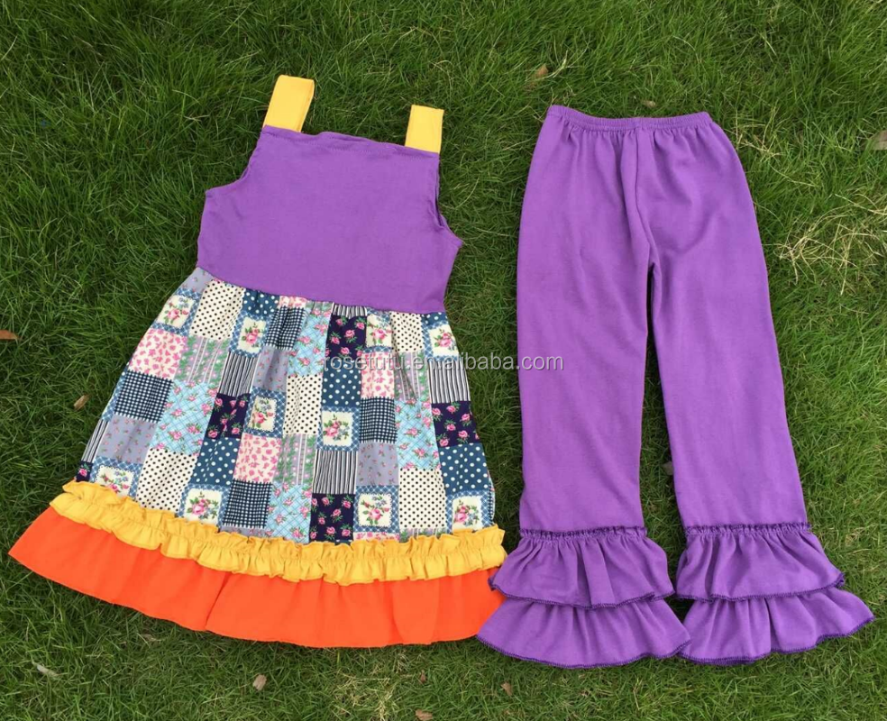 Matching ruffles straps dress and pure color pants dave and bella baby clothing girl turkey wholesale children clothes