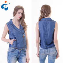 Fashion casual sleeveless latest jeans tops girls with zipper