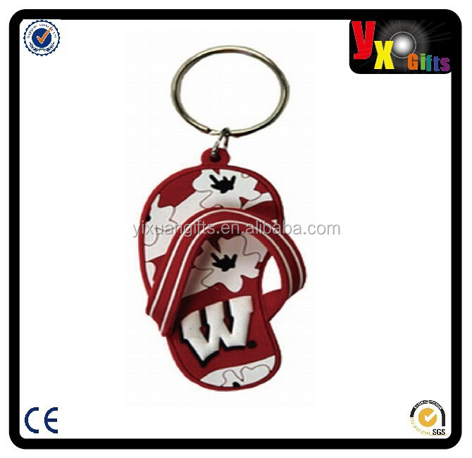 NCAA Wisconsin Badgers Flip Flop PVC Keychain/jordan shoes