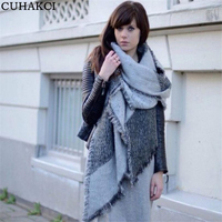 2017 Winter Fashion Women Plaid Scarves Female Cashmere Pashmina Warm Thick Wool Blanket Scarf Shawl