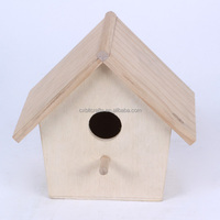 Small new unfinished decorative wooden craft bird house for wholesale