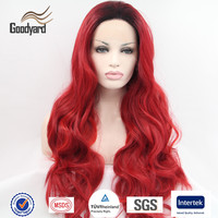 Wholesale Natural Cheap Red Synthetic Hair Lace Front Wig With Baby Hair