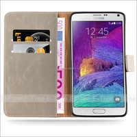 Hot Selling Luxury PU Leather Case for Samsung Galaxy Note 4 Foldable Stand Smart Cover