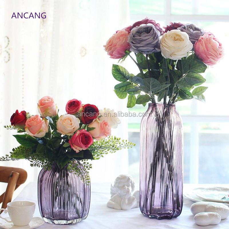 Wholesale price purple Tall Clear Glass material Flower Vase