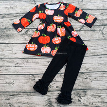 Pumpkin Candy Top Matching black Ruffle Pants Set Wholesale Girl Halloween Costumes Outfits