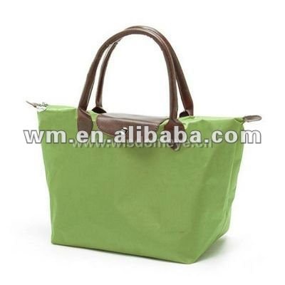 Hot sale foldable green nylon tote bag for women