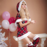 Women's Beauty Plaid Christmas Costumes Plush Winter Dress Party Shawl Cloak Velvet Wholesale Cosplay