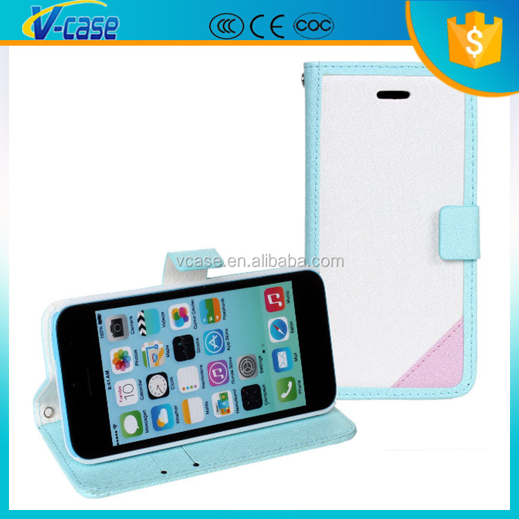 Customize logo in free Ultra Thin Magnetic Flip Leather Phone Case for iphone 5c