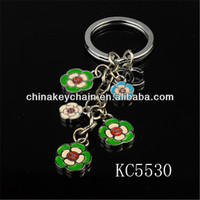 2014 new style oil painting mini flowers keychain