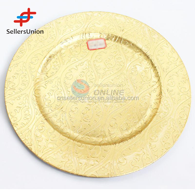 2017 No.1 yiwu agent Export commission agent New design 33cm Gold Color Printing Wedding Plastic Charger Plate
