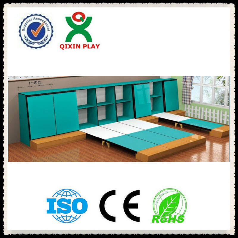 Convenient beds for kindergarten/Kid 's furniture wooden wall bed/folding children bed QX-B6601