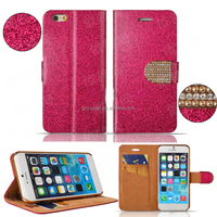 Bling Diamond Decorative Card Slot Holder Mobile Phone Case Leather Flip Case for iPhone 5