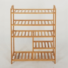 Chinese factory simple style 100% Natural Bamboo 5 Tiers Shoe Boots Rack