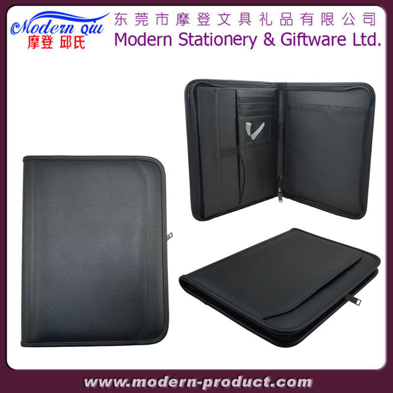 A4 Brown PU Leather Zipper Conference Compendium