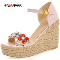 Ladies diamond wedges shoes and sandals 2016 new latest design ladies wedge heel hemp rope sandals