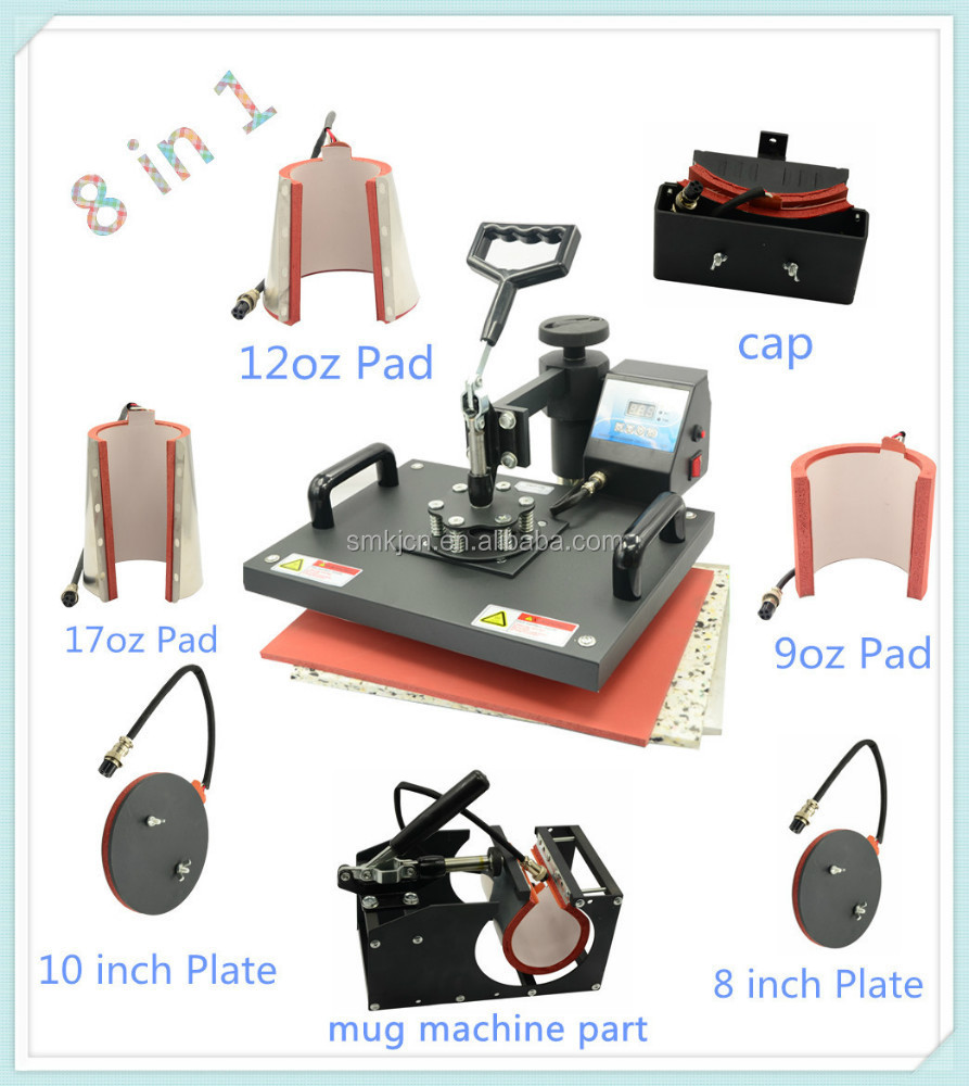 Combo manual heat press machine 8in1