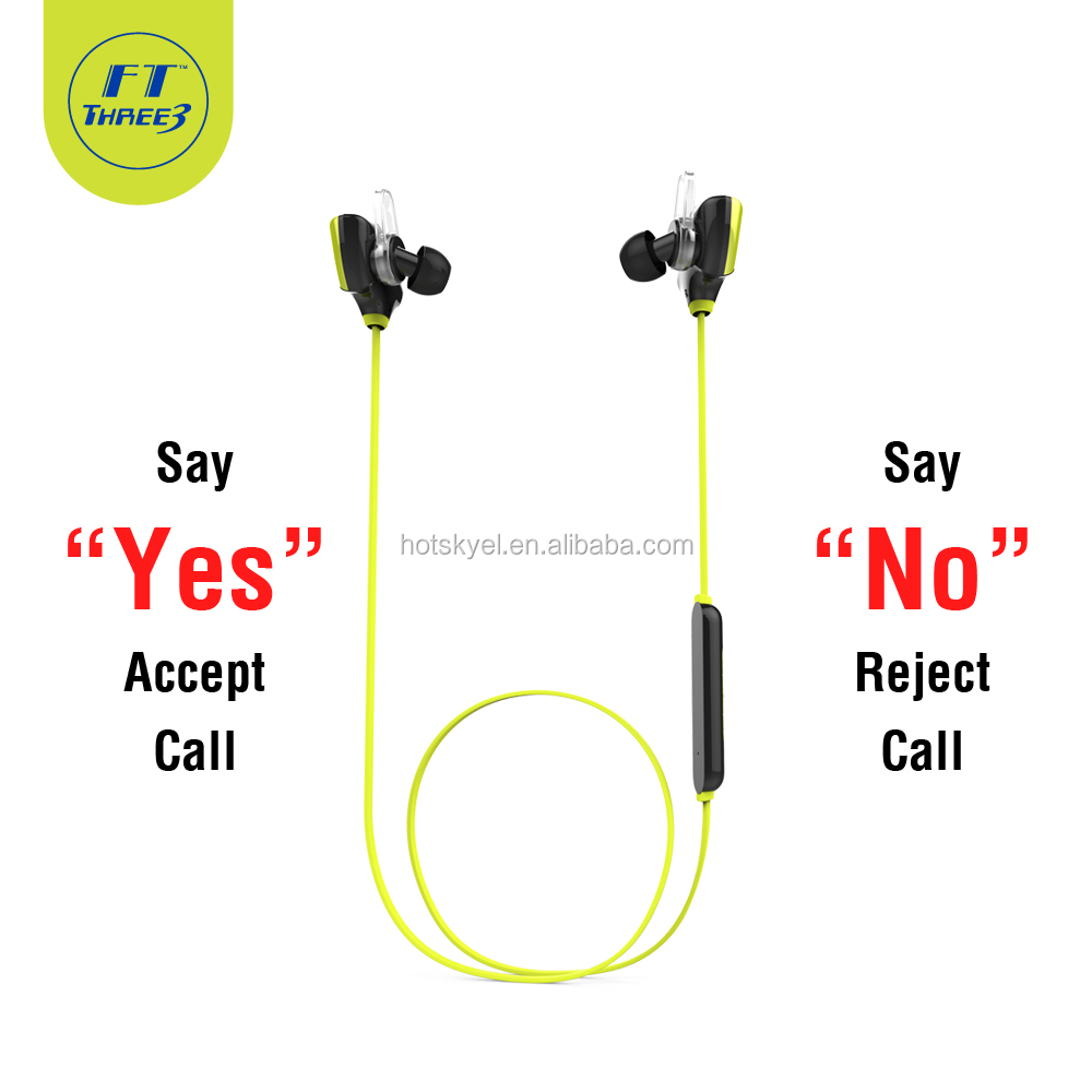 FT Three3 D8 Series <strong>Bluetooth</strong> V4.0 Earphones headphones headsets with microphones Equipped with CSR8640 Chip FTBTRD8 (Yellow)