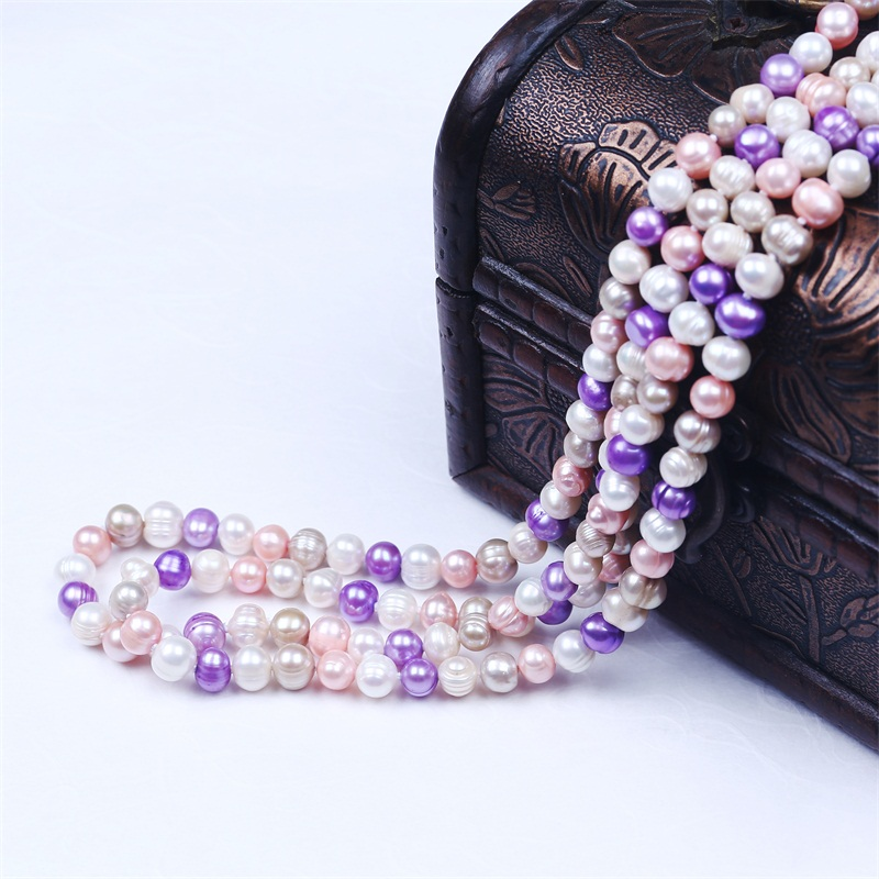 Fashion Simple Saree Newest Beaded Long Pearl Necklace Set