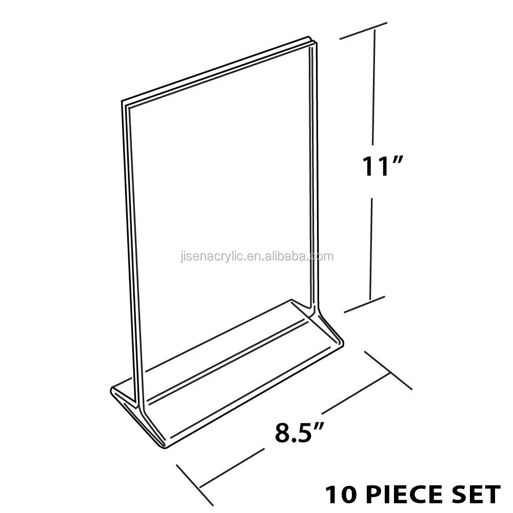 wholesale acrylicTable Card Display/Plastic Upright Menu Ad Frame/Acrylic Sign Holder, 8.5 by 11-Inch, 6-Pack