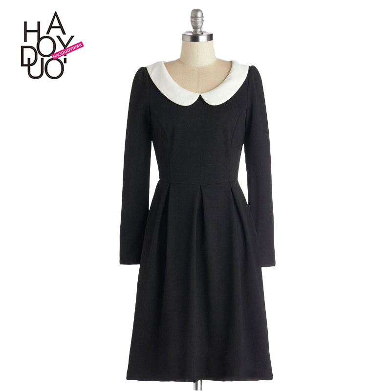 HAODUOYI Women Fashion Long Sleeve Peter Pan Collar Back Zipper A-Line Vintage Elegant Crew Neck Slim Summer Dress for Wholesale