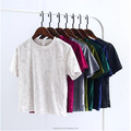 Chic Back Slit Short sleeve Velour T shirt New Woman Solid color O neck Velvet Tee Tops With Various Colors