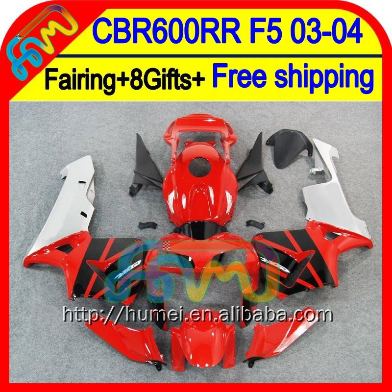 8Gifts Injection For HONDA CBR 600RR 600 RR Red black 03 04 50HM48 CBR600 RR F5 CBR600RR 2003 2004 Red black hot 03-04 Fairing