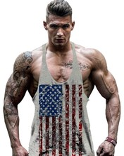 SQUAREGYM Star And Strip America Flag Tank Top Muscle Stringer Y Back Drop Armhole GYM Sleeveless T Shirt
