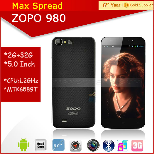 "Instock!! 5.0"" FHD screen mtk6589 quad core 1.5GHz Dual camare Dual sim 2GB ram 32gb rom ZP980 mobile phone"