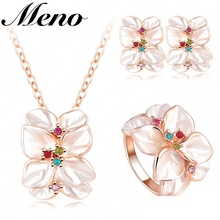Fashion elegant flower necklace earrings and ring three piece jewelry sets for women