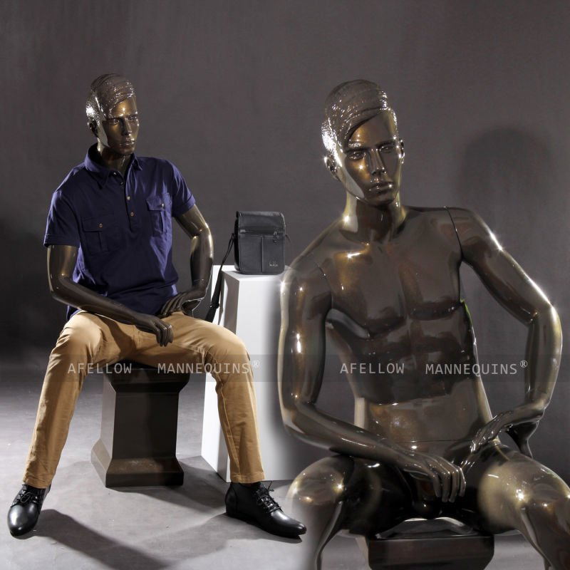 Male sitting mannequin realistic AFELLOW fullbody mannequin maniqui glossy bronze mannequin Bruce2