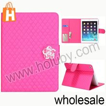 China Supplier Grid Pattern Smart Wallet Leather Case for iPad Air