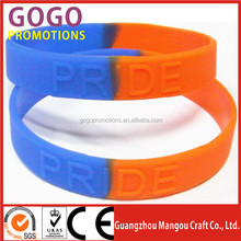 Hot Sale Swirl Color Customize Glittering silicone Bracelet Club Embossed Glow in the Dark Silicone Hand band MOQ 100pcs