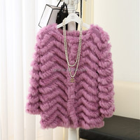 women's Korean style O-neck wool knitted with rabbit fur coat sweate for girls