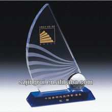 Sail boat shape crystal award trophy