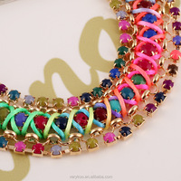 Bohemia Style With Color Dimond Weave Rope Rainbow Style Necklace