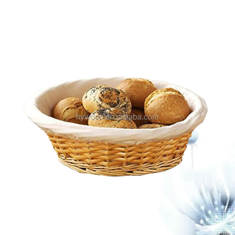 oval wicker bread basket with cotton fabric lining