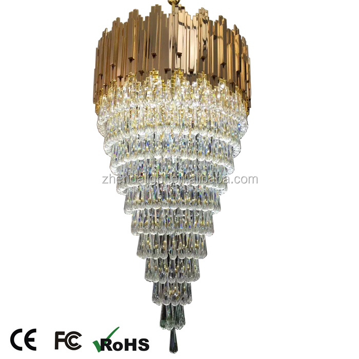 New decoration hanging big stained glass crystal drop chandelier light for lobby