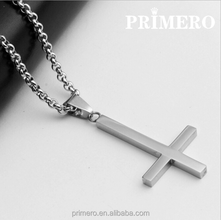 PRIMERO Inverted Cross Peter titanium steel 316L Stainless Steel Pendant Necklace Lucifer Satan fashion vintage punk jewelry