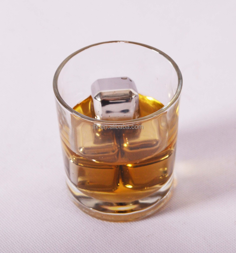 Christmas Gift !!! Dice Ice Cube Whisky Stone, Stainless Steel Ice Cube, LFK-IC01