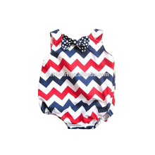 Wholesale baby clothes one piece striped bodysuit chevron clothing with bowknot unisex baby romper