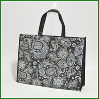 Full printing PP nonwoven laminated flower design handbag