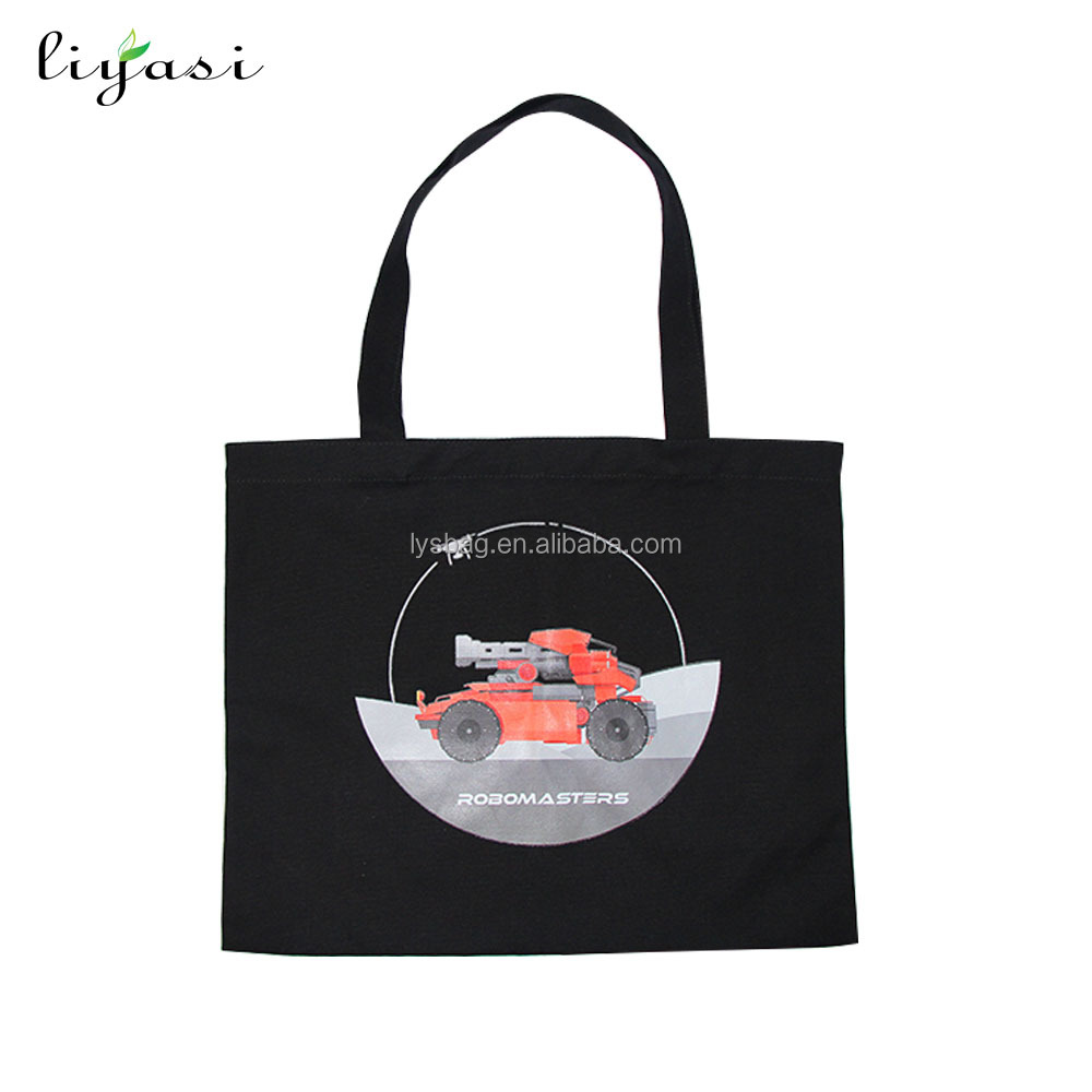 Best selling products black custom shopping tote canvas bag