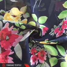 Top quality wholesale flower printed crinkle polyester chiffon ankara print fabric
