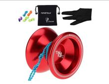 MAGICYOYO Unresponsive <strong>Yoyo</strong> T5 Overlord Aluminum Professional Yo-Yos <strong>Yoyo</strong> balls with 5 Strings Gloves with <strong>Yoyo</strong> Bag Red