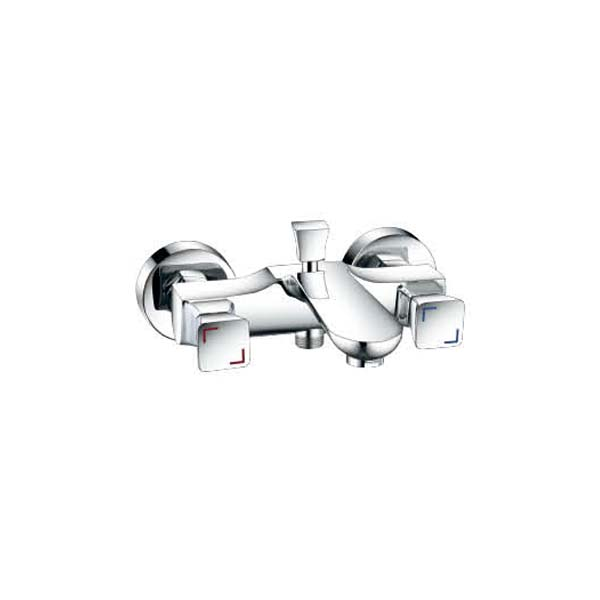Modern wall-mounted double lever brass bathtub faucet
