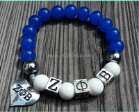 ZPB heart Charm Bracelet Zeta Phi Beta Sorority Stretchable bracelet fits mostly all wrist sizes