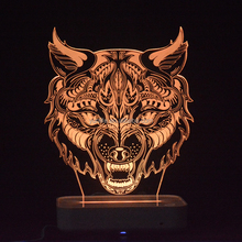 Best gift wolf animal night light with acrylic lamp for 3d led lamp